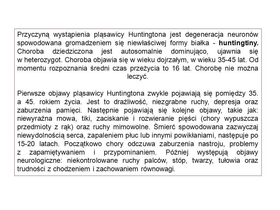 Przyczyną wystąpienia pląsawicy Huntingtona jest degeneracja neuronów spowodowana gromadzeniem się niewłaściwej formy białka - huntingtiny. Choroba dz