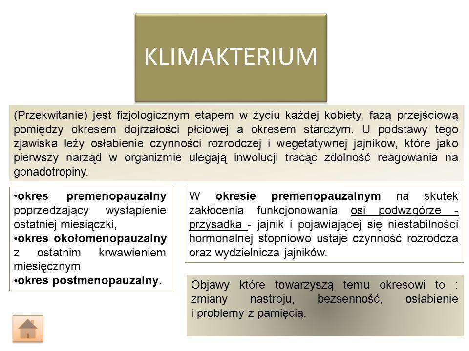 KLIMAKTERIUM (Przekwitanie) jest fizjologicznym etapem w życiu każdej kobiety, fazą przejściową pomiędzy okresem dojrzałości płciowej a okresem starczym.