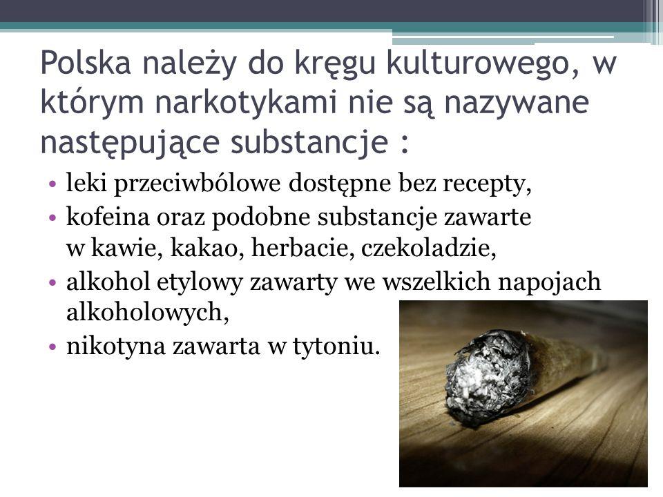 Polska należy do kręgu kulturowego, w którym narkotykami nie są nazywane następujące substancje : leki przeciwbólowe dostępne bez recepty, kofeina ora