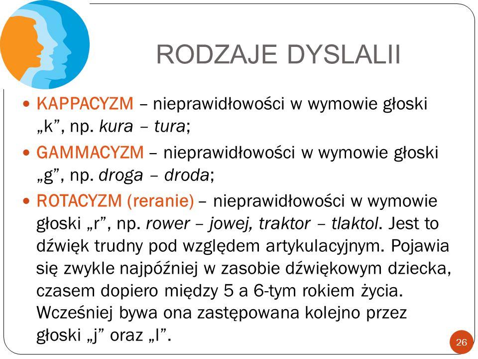 """RODZAJE DYSLALII KAPPACYZM – nieprawidłowości w wymowie głoski """"k"""", np. kura – tura; GAMMACYZM – nieprawidłowości w wymowie głoski """"g"""", np. droga – dr"""