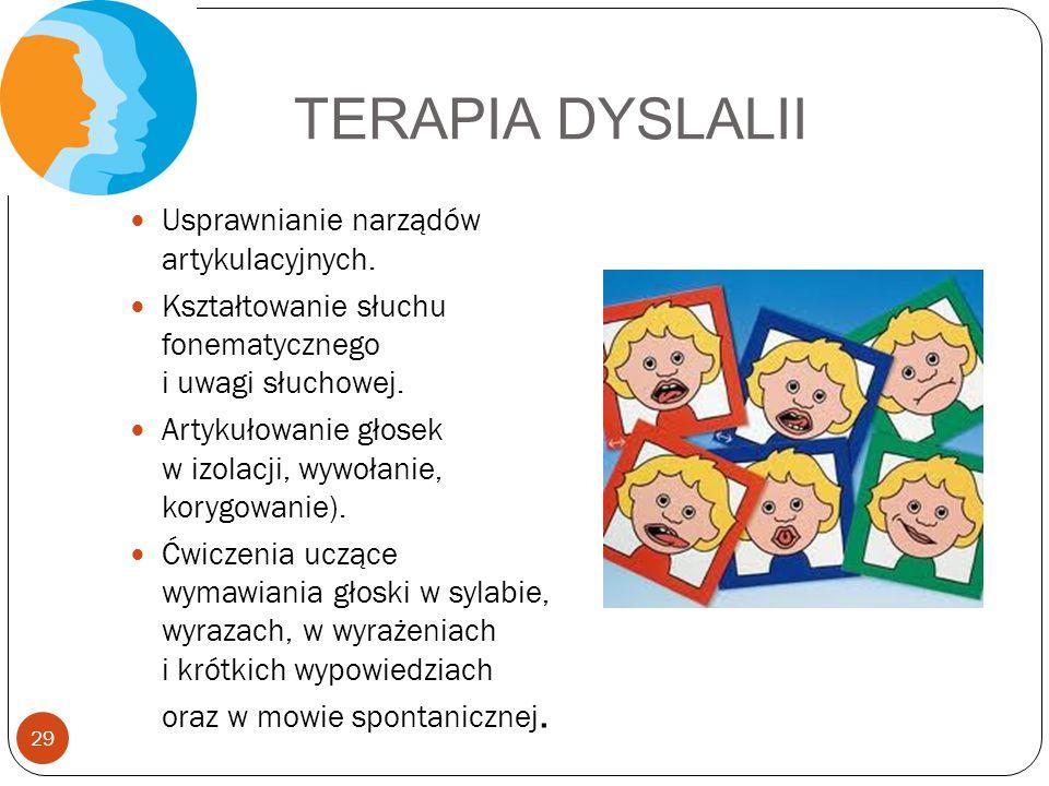 TERAPIA DYSLALII Usprawnianie narządów artykulacyjnych. Kształtowanie słuchu fonematycznego i uwagi słuchowej. Artykułowanie głosek w izolacji, wywoła