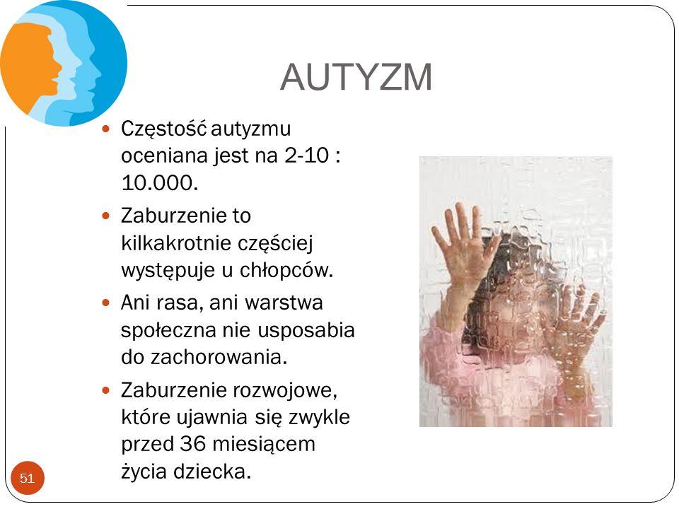 AUTYZM Częstość autyzmu oceniana jest na 2-10 : 10.000. Zaburzenie to kilkakrotnie częściej występuje u chłopców. Ani rasa, ani warstwa społeczna nie