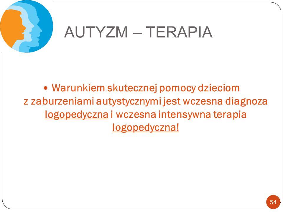 AUTYZM – TERAPIA Warunkiem skutecznej pomocy dzieciom z zaburzeniami autystycznymi jest wczesna diagnoza logopedyczna i wczesna intensywna terapia log