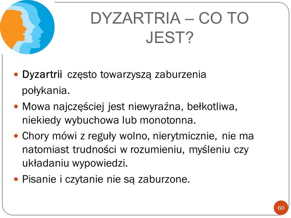 DYZARTRIA – CO TO JEST? Dyzartrii często towarzyszą zaburzenia połykania. Mowa najczęściej jest niewyraźna, bełkotliwa, niekiedy wybuchowa lub monoton