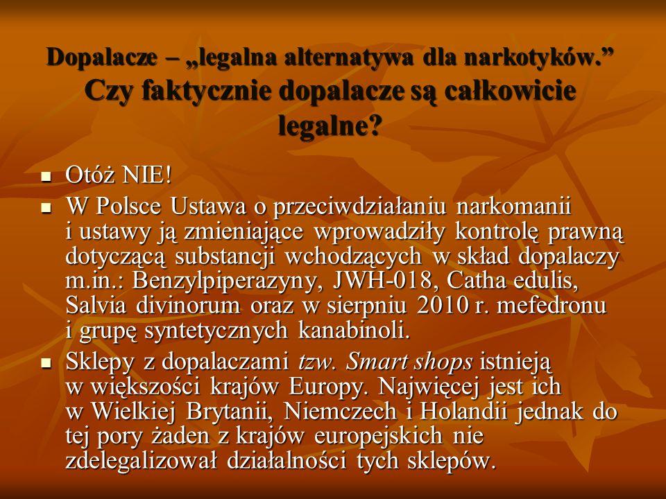 """Dopalacze – """"legalna alternatywa dla narkotyków."""" Czy faktycznie dopalacze są całkowicie legalne? Otóż NIE! Otóż NIE! W Polsce Ustawa o przeciwdziałan"""