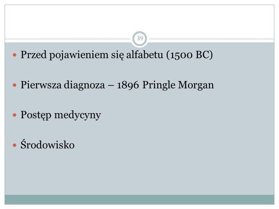 39 Przed pojawieniem się alfabetu (1500 BC) Pierwsza diagnoza – 1896 Pringle Morgan Postęp medycyny Środowisko