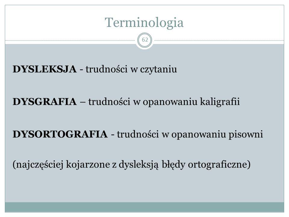 Terminologia 62 DYSLEKSJA - trudności w czytaniu DYSGRAFIA – trudności w opanowaniu kaligrafii DYSORTOGRAFIA - trudności w opanowaniu pisowni (najczęściej kojarzone z dysleksją błędy ortograficzne)