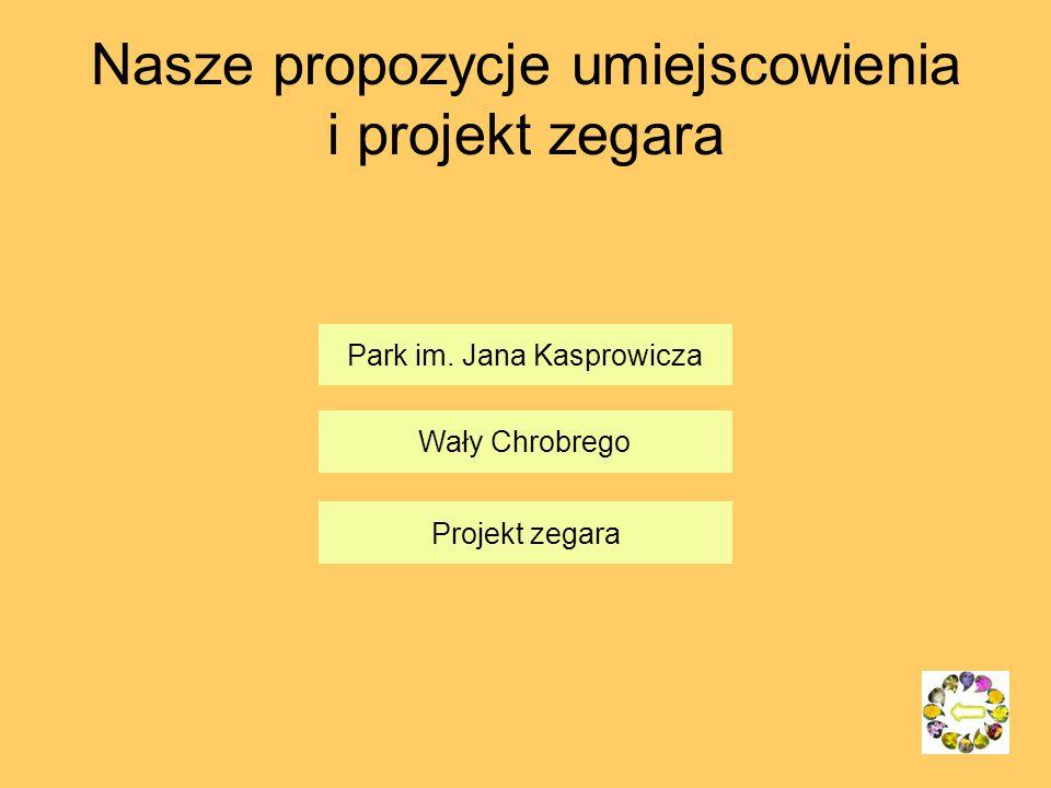 Nasze propozycje umiejscowienia i projekt zegara Park im. Jana Kasprowicza Wały Chrobrego Projekt zegara