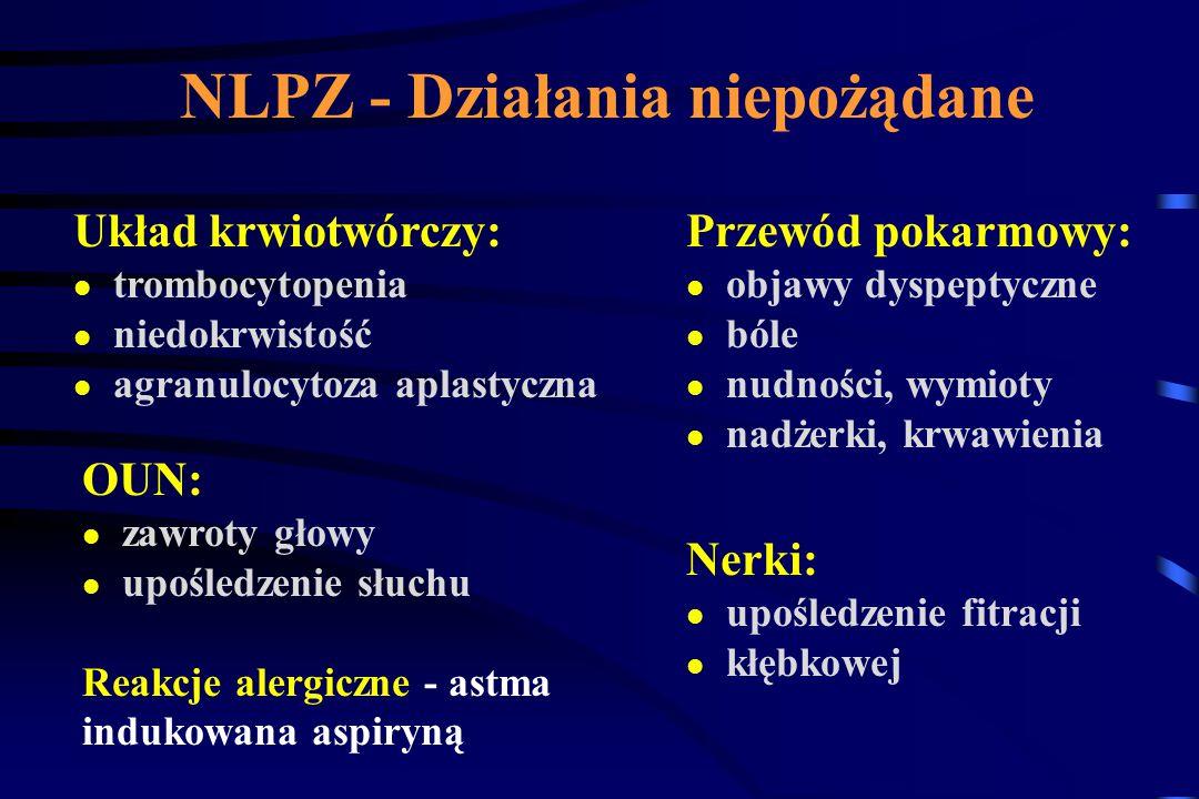 Selektywność NLPZ: Aspiryna 160 x silniej hamuje COX 1 niż COX 2 Indometocyna 60 x silniej hamuje COX 1 niż COX 2 Ketoprofen 0,5-0,6 x silniej hamuje