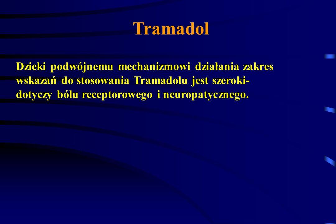 Tramadol Tramadol nie hamuje natomiast syntezy prostaglandyn i nie wywołuje !!!! krwawienia z przewodu pokarmowego, zaburzeń czynności nerek ani nie z