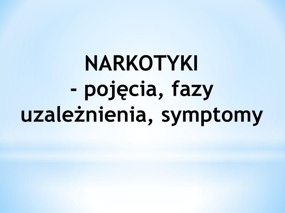 NARKOTYKI - pojęcia, fazy uzależnienia, symptomy