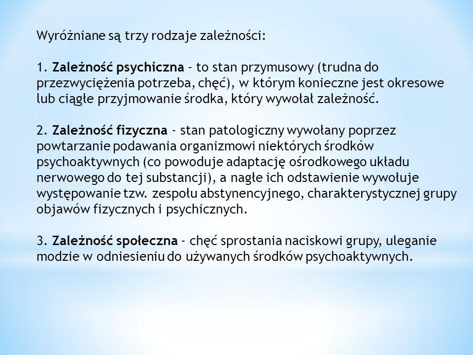 Wyróżniane są trzy rodzaje zależności: 1. Zależność psychiczna - to stan przymusowy (trudna do przezwyciężenia potrzeba, chęć), w którym konieczne jes