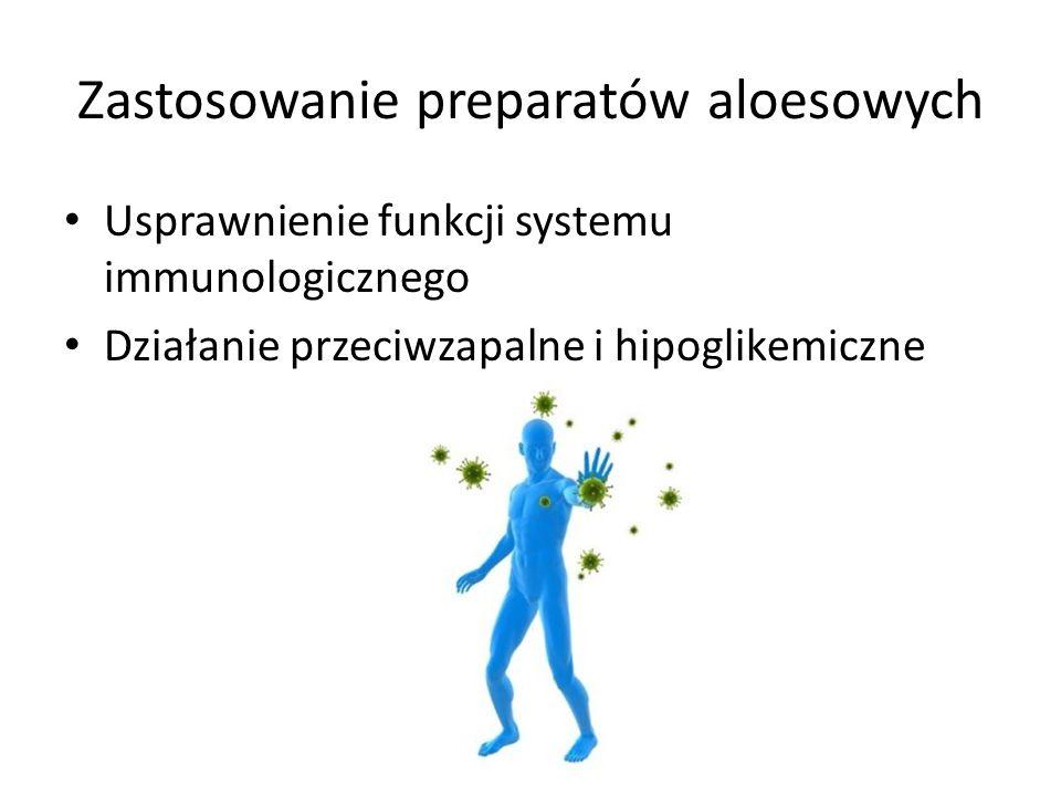 Zastosowanie preparatów aloesowych Usprawnienie funkcji systemu immunologicznego Działanie przeciwzapalne i hipoglikemiczne