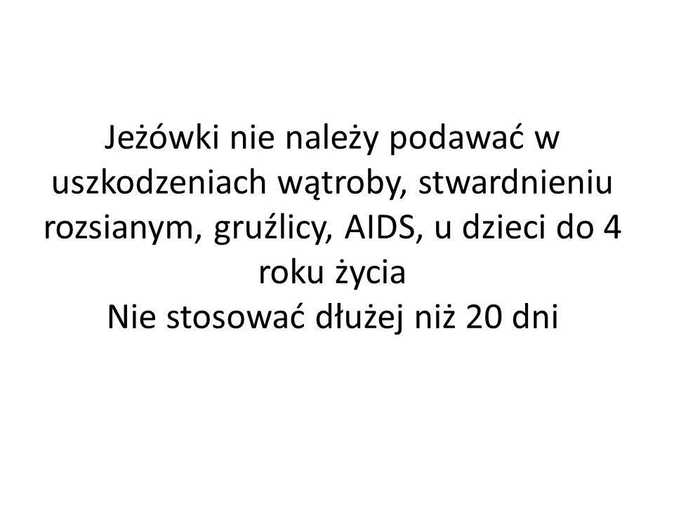 Jeżówki nie należy podawać w uszkodzeniach wątroby, stwardnieniu rozsianym, gruźlicy, AIDS, u dzieci do 4 roku życia Nie stosować dłużej niż 20 dni