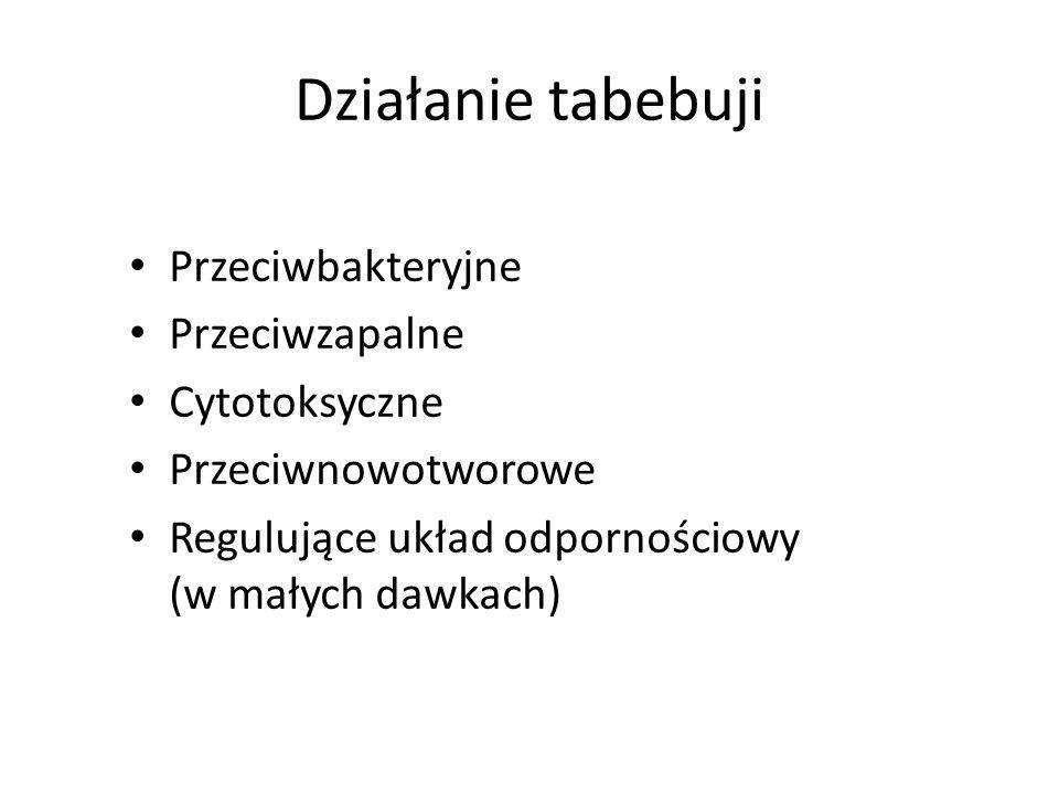 Działanie tabebuji Przeciwbakteryjne Przeciwzapalne Cytotoksyczne Przeciwnowotworowe Regulujące układ odpornościowy (w małych dawkach)