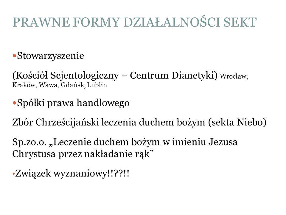 PRAWNE FORMY DZIAŁALNOŚCI SEKT Stowarzyszenie (Kościół Scjentologiczny – Centrum Dianetyki) Wrocław, Kraków, Wawa, Gdańsk, Lublin Spółki prawa handlow