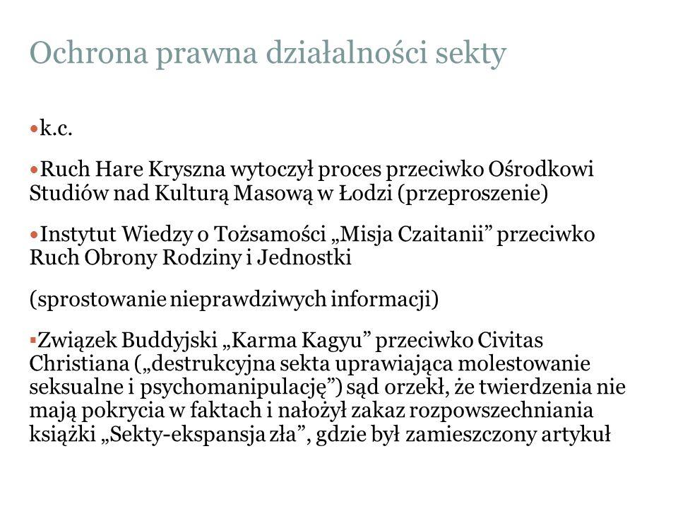 Ochrona prawna działalności sekty k.c. Ruch Hare Kryszna wytoczył proces przeciwko Ośrodkowi Studiów nad Kulturą Masową w Łodzi (przeproszenie) Instyt