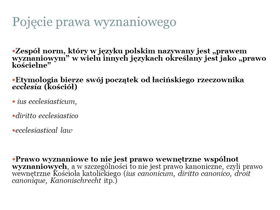 """Pojęcie prawa wyznaniowego Zespół norm, który w języku polskim nazywany jest """"prawem wyznaniowym"""" w wielu innych językach określany jest jako """"prawo k"""