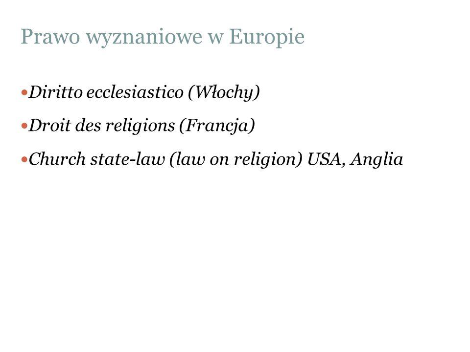 Prawo wyznaniowe w Europie Diritto ecclesiastico (Włochy) Droit des religions (Francja) Church state-law (law on religion) USA, Anglia