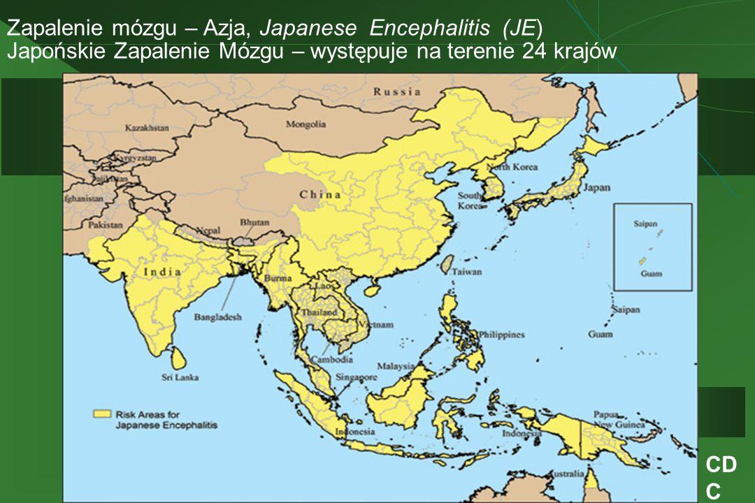 Zapalenie mózgu – Azja, Japanese Encephalitis (JE) Japońskie Zapalenie Mózgu – występuje na terenie 24 krajów CD C
