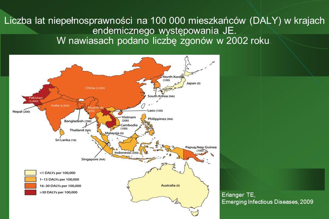 Liczba lat niepełnosprawności na 100 000 mieszkańców (DALY) w krajach endemicznego występowania JE. W nawiasach podano liczbę zgonów w 2002 roku. Erla