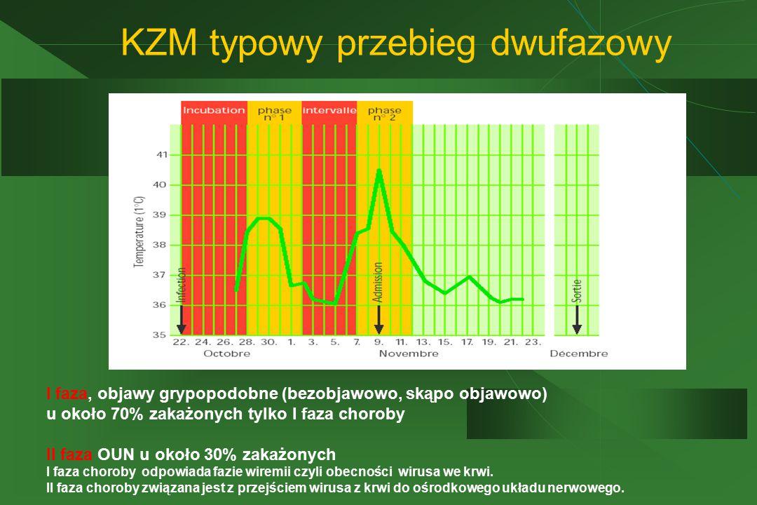 KZM typowy przebieg dwufazowy I faza, objawy grypopodobne (bezobjawowo, skąpo objawowo) u około 70% zakażonych tylko I faza choroby II faza OUN u okoł