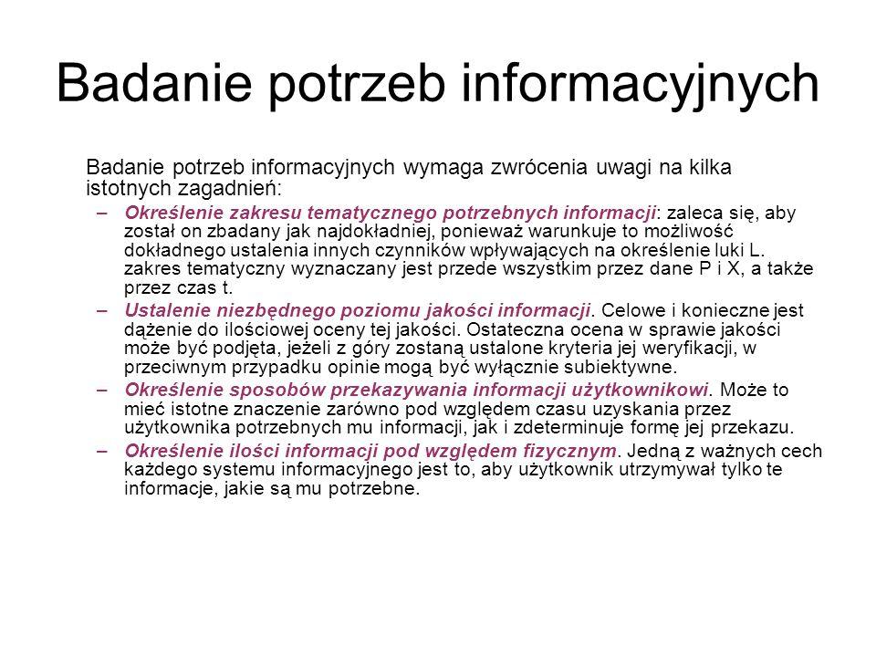 Badanie potrzeb informacyjnych Badanie potrzeb informacyjnych wymaga zwrócenia uwagi na kilka istotnych zagadnień: –Określenie zakresu tematycznego po