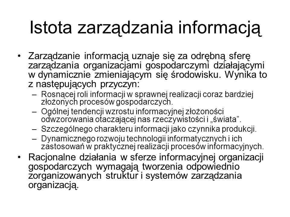 Istota zarządzania informacją Zarządzanie informacją uznaje się za odrębną sferę zarządzania organizacjami gospodarczymi działającymi w dynamicznie zm