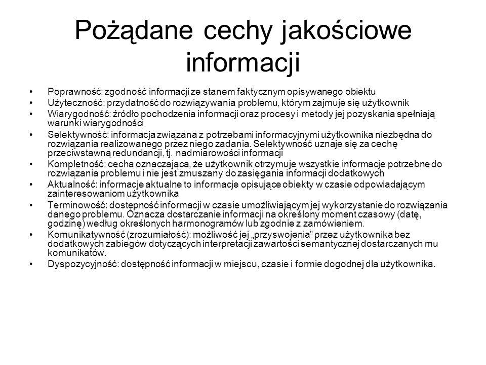 Pożądane cechy jakościowe informacji Poprawność: zgodność informacji ze stanem faktycznym opisywanego obiektu Użyteczność: przydatność do rozwiązywani