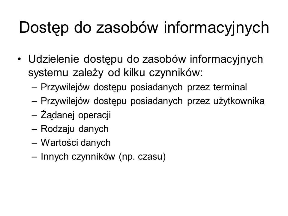 Dostęp do zasobów informacyjnych Udzielenie dostępu do zasobów informacyjnych systemu zależy od kilku czynników: –Przywilejów dostępu posiadanych prze