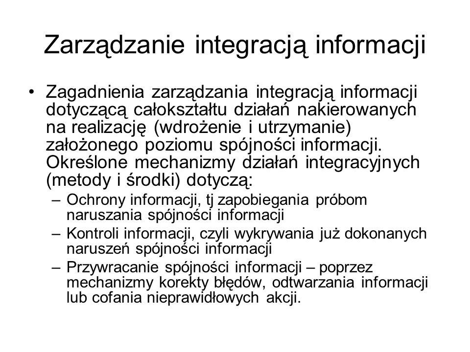 Zarządzanie integracją informacji Zagadnienia zarządzania integracją informacji dotyczącą całokształtu działań nakierowanych na realizację (wdrożenie
