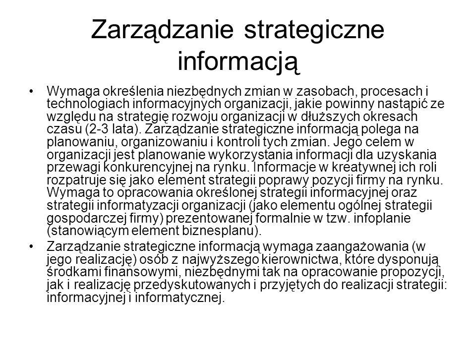 Zarządzanie strategiczne informacją Wymaga określenia niezbędnych zmian w zasobach, procesach i technologiach informacyjnych organizacji, jakie powinn