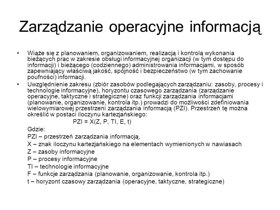 Zarządzanie operacyjne informacją Wiąże się z planowaniem, organizowaniem, realizacją i kontrolą wykonania bieżących prac w zakresie obsługi informacy