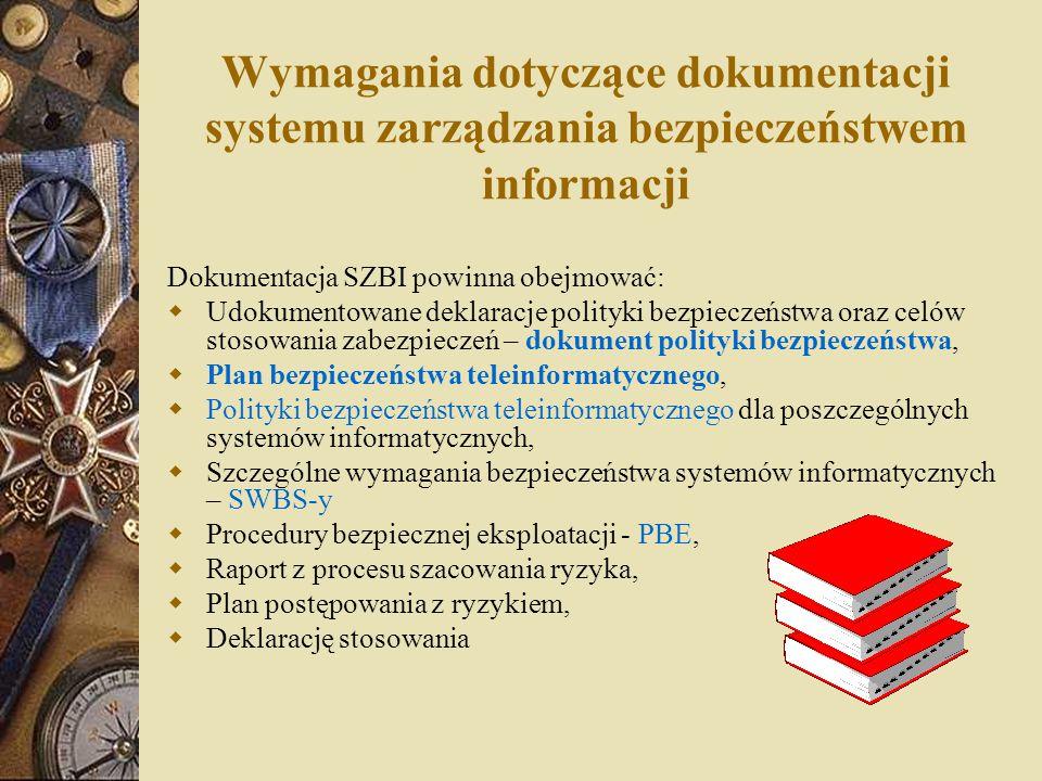 Wymagania dotyczące dokumentacji systemu zarządzania bezpieczeństwem informacji Dokumentacja SZBI powinna obejmować:  Udokumentowane deklaracje polit