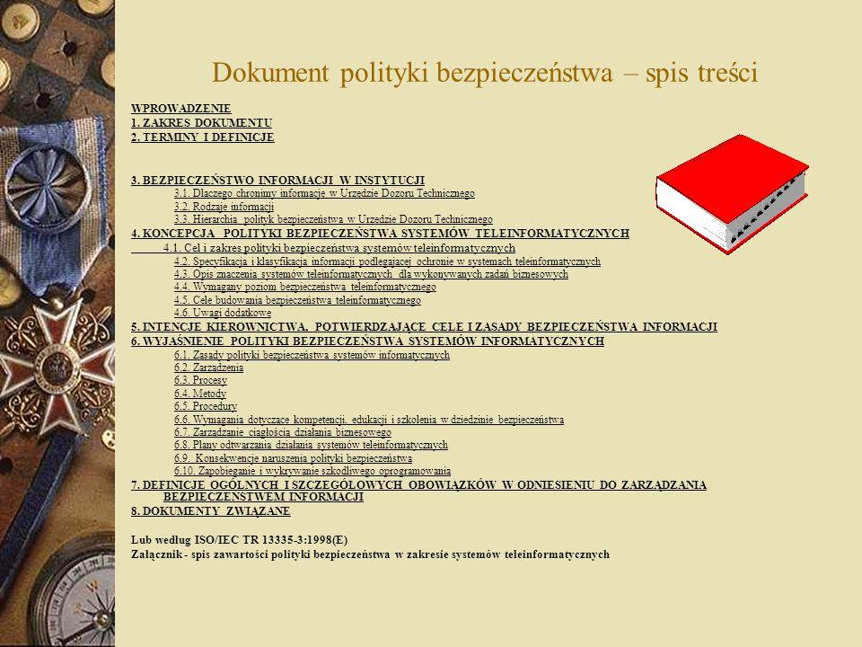 Dokument polityki bezpieczeństwa – spis treści WPROWADZENIE 1. ZAKRES DOKUMENTU 2. TERMINY I DEFINICJE 3. BEZPIECZEŃSTWO INFORMACJI W INSTYTUCJI 3.1.