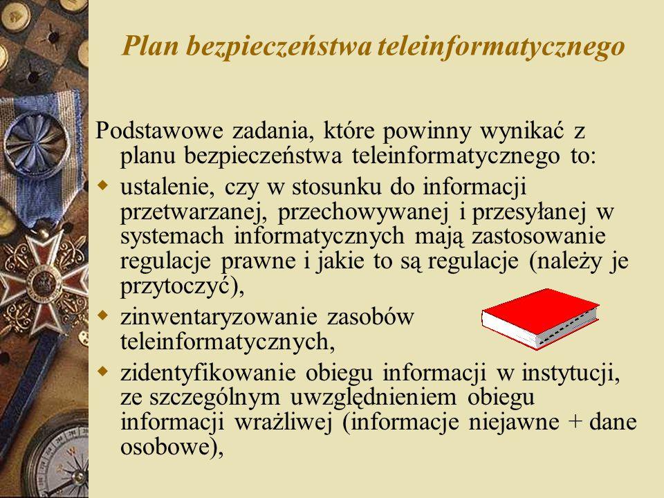 Plan bezpieczeństwa teleinformatycznego Podstawowe zadania, które powinny wynikać z planu bezpieczeństwa teleinformatycznego to:  ustalenie, czy w st