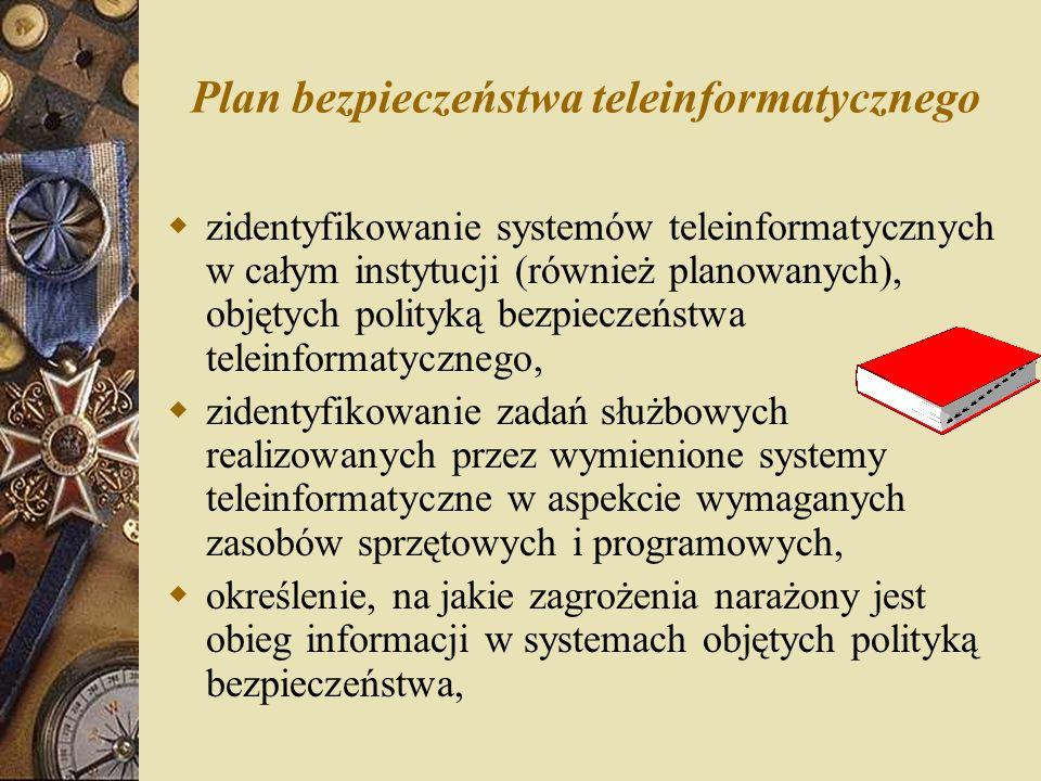 Plan bezpieczeństwa teleinformatycznego  zidentyfikowanie systemów teleinformatycznych w całym instytucji (również planowanych), objętych polityką be