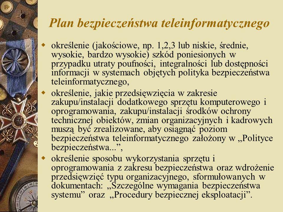 Plan bezpieczeństwa teleinformatycznego  określenie (jakościowe, np. 1,2,3 lub niskie, średnie, wysokie, bardzo wysokie) szkód poniesionych w przypad