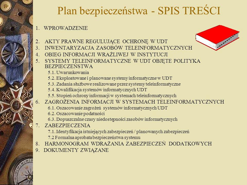 Plan bezpieczeństwa - SPIS TREŚCI 1. WPROWADZENIE 2.AKTY PRAWNE REGULUJĄCE OCHRONĘ W UDT 3.INWENTARYZACJA ZASOBÓW TELEINFORMATYCZNYCH 4.OBIEG INFORMAC
