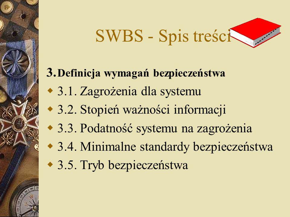 SWBS - Spis treści 3. Definicja wymagań bezpieczeństwa  3.1. Zagrożenia dla systemu  3.2. Stopień ważności informacji  3.3. Podatność systemu na za