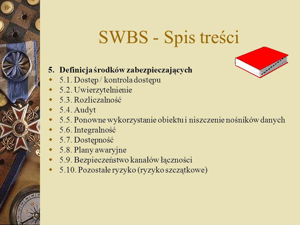 SWBS - Spis treści 5.Definicja środków zabezpieczających  5.1. Dostęp / kontrola dostępu  5.2. Uwierzytelnienie  5.3. Rozliczalność  5.4. Audyt 