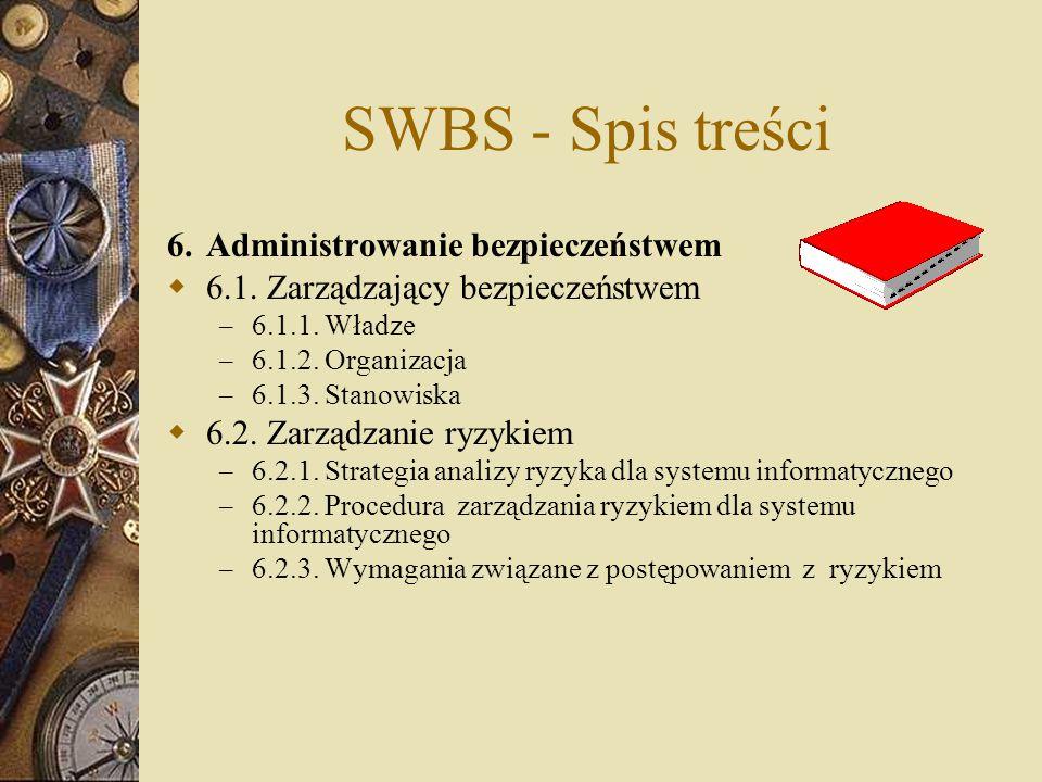 SWBS - Spis treści 6.Administrowanie bezpieczeństwem  6.1. Zarządzający bezpieczeństwem – 6.1.1. Władze – 6.1.2. Organizacja – 6.1.3. Stanowiska  6.