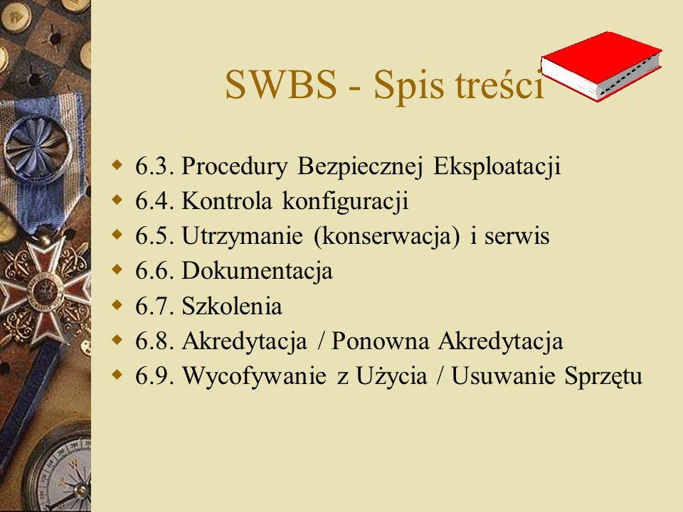 SWBS - Spis treści  6.3. Procedury Bezpiecznej Eksploatacji  6.4. Kontrola konfiguracji  6.5. Utrzymanie (konserwacja) i serwis  6.6. Dokumentacja