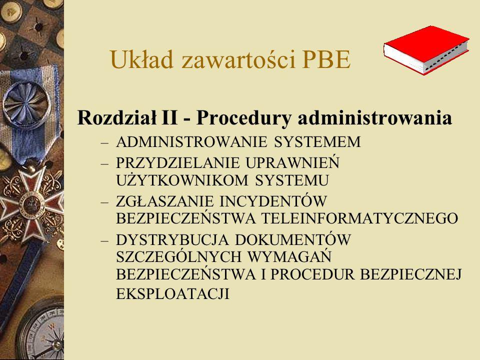 Układ zawartości PBE Rozdział II - Procedury administrowania – ADMINISTROWANIE SYSTEMEM – PRZYDZIELANIE UPRAWNIEŃ UŻYTKOWNIKOM SYSTEMU – ZGŁASZANIE IN