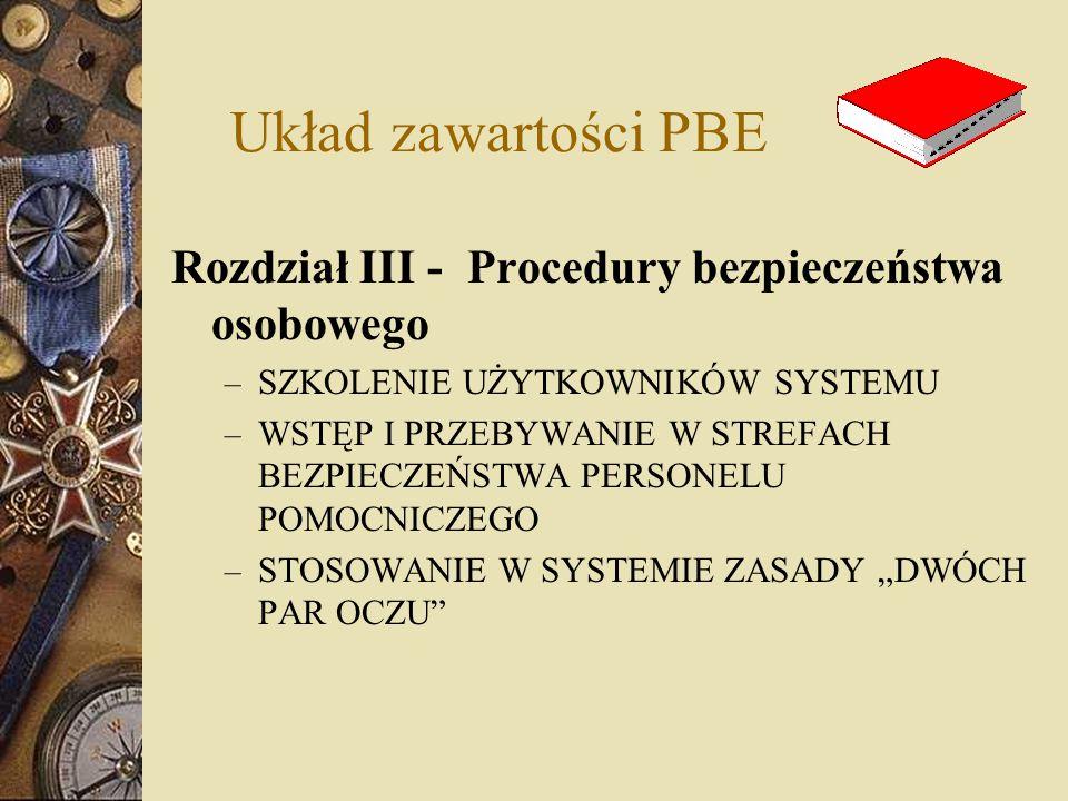 Układ zawartości PBE Rozdział III - Procedury bezpieczeństwa osobowego – SZKOLENIE UŻYTKOWNIKÓW SYSTEMU – WSTĘP I PRZEBYWANIE W STREFACH BEZPIECZEŃSTW
