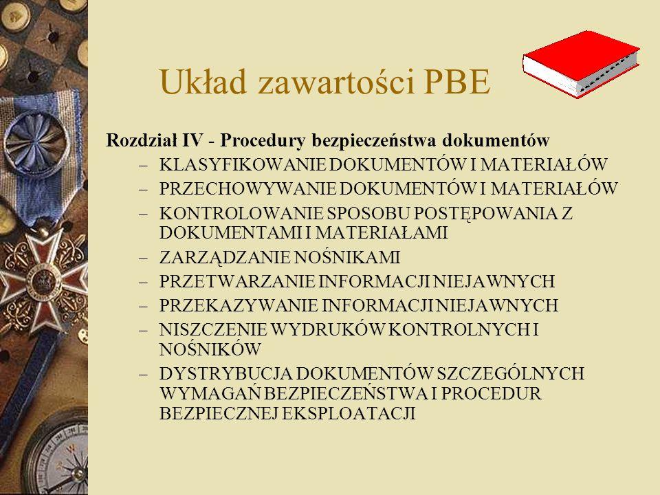 Układ zawartości PBE Rozdział IV - Procedury bezpieczeństwa dokumentów – KLASYFIKOWANIE DOKUMENTÓW I MATERIAŁÓW – PRZECHOWYWANIE DOKUMENTÓW I MATERIAŁ