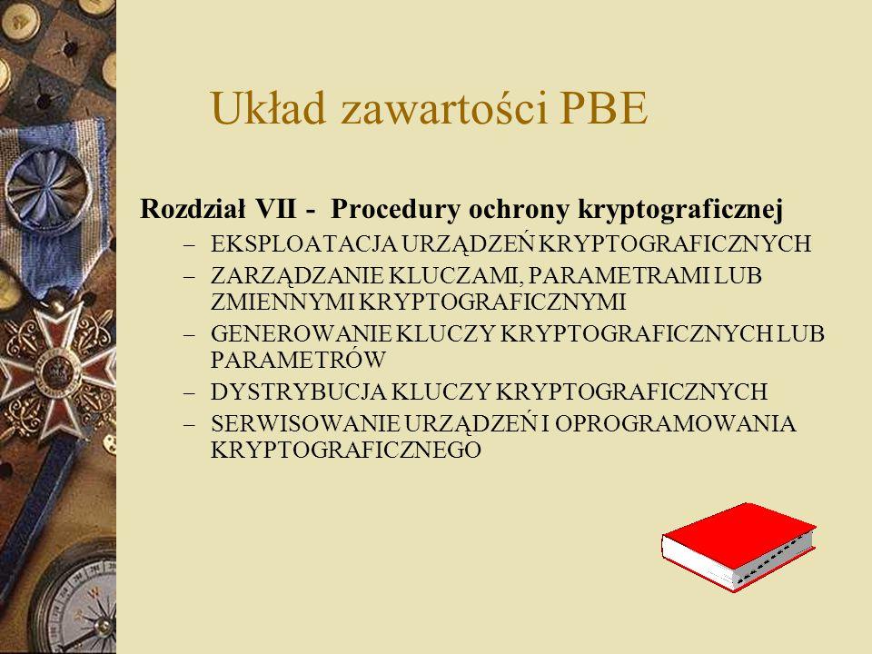 Układ zawartości PBE Rozdział VII - Procedury ochrony kryptograficznej – EKSPLOATACJA URZĄDZEŃ KRYPTOGRAFICZNYCH – ZARZĄDZANIE KLUCZAMI, PARAMETRAMI L