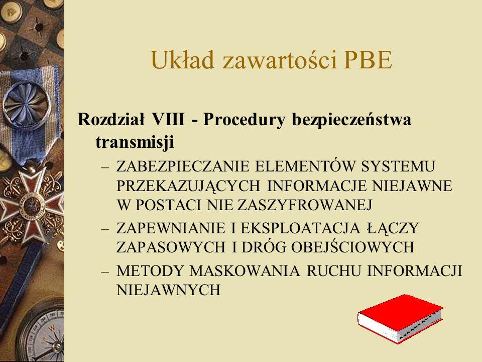 Układ zawartości PBE Rozdział VIII - Procedury bezpieczeństwa transmisji – ZABEZPIECZANIE ELEMENTÓW SYSTEMU PRZEKAZUJĄCYCH INFORMACJE NIEJAWNE W POSTA