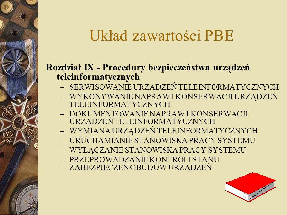 Układ zawartości PBE Rozdział IX - Procedury bezpieczeństwa urządzeń teleinformatycznych – SERWISOWANIE URZĄDZEŃ TELEINFORMATYCZNYCH – WYKONYWANIE NAP