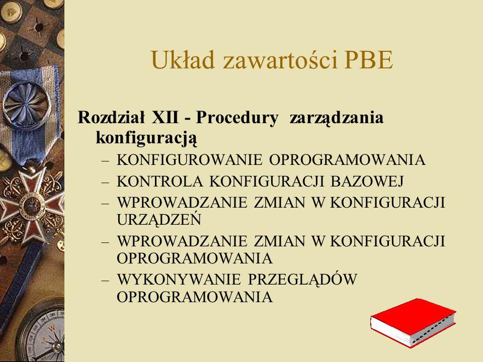 Układ zawartości PBE Rozdział XII - Procedury zarządzania konfiguracją – KONFIGUROWANIE OPROGRAMOWANIA – KONTROLA KONFIGURACJI BAZOWEJ – WPROWADZANIE